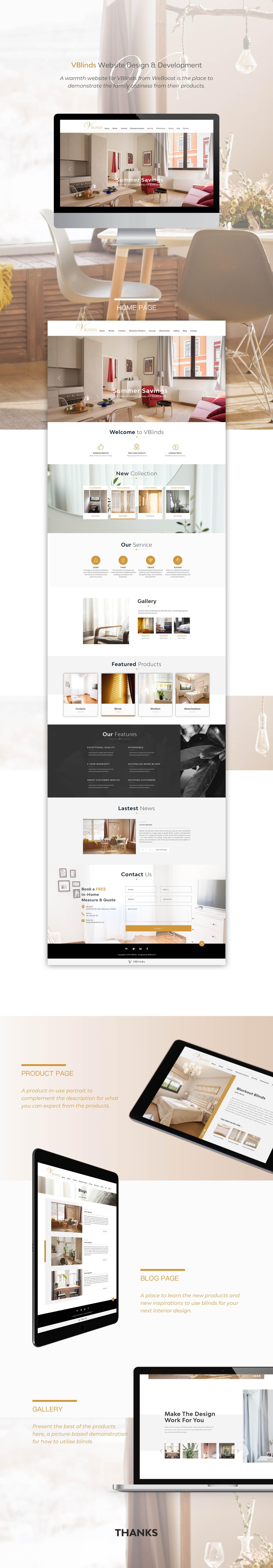 WeBoost website design and development project Vblinds website