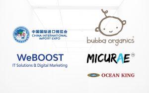 Logos of WeBOOST, CIIE, Bubba Organics, Micurae and Ocean King