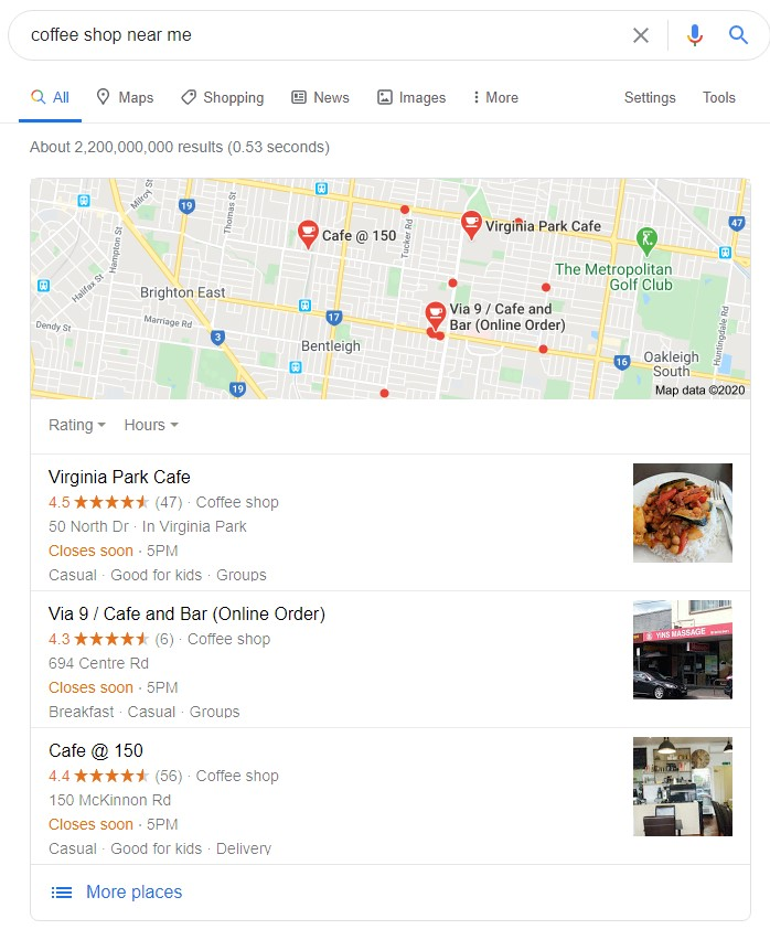 Search result of coffee shop near me