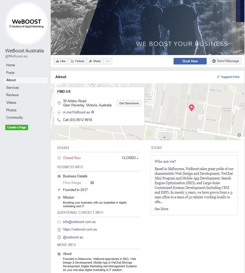 Facebook profile of WeBOOST