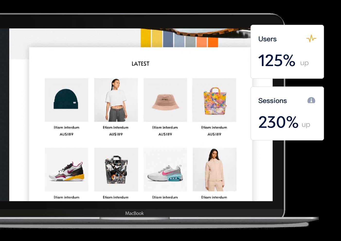 ecommerce website on a laptop