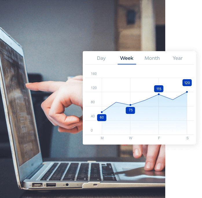 pointing to a monitor, a graph